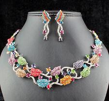 Kiss Lip Austrian Rhinestone Crystal Necklace Earrings Set N1000m Multi-color