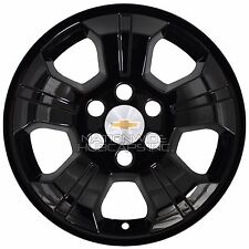 "4 Black 2014-2017 Silverado 1500 18"" Wheel Skins Hub Caps Alloy Rim Full Covers"