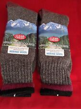 2 Pair Large Clear Creek 45% Merino Wool Boot Sock 6-12 Red Stripe