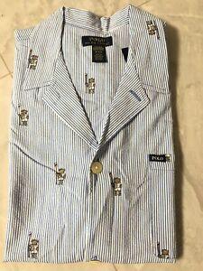 NWT Polo Ralph Lauren Men's Relaxed Fit Seersucker Striped Row Bear Pajama Shirt