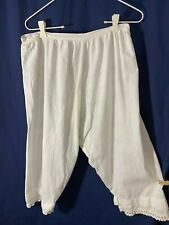 Victorian Bloomers- M -White Feedsack Fabric w/ Crocheted Trim -VG-EVERYDAY-SALE