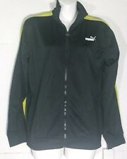 Puma Track Jacket Warm Up Full Zip Black Yellow Size Youth Large L Pockets NWT