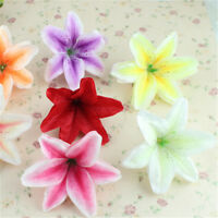 Lot of 10 Artificial Fabric Lily Flower Heads Wedding Party Home Floral Decor