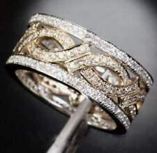 Retro White Topaz 925 Silver Fashion Jewelry Engagement Wedding Band Ring Size 8