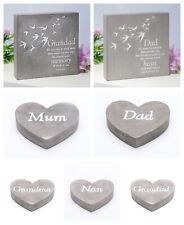 Elegant Graveside Memorial Smooth Concrete Plaque, Heart - Family Sentiment