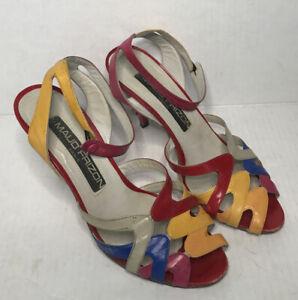 Maud Frizon Womens Peep Toe Slim Heel Ankle Strap Pump Colorful Leather Size 7.5