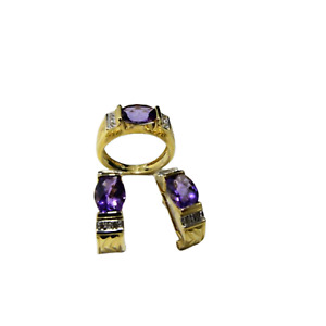 Amethyst with  White round  diamonds  Vintage look jewelry set in 14 k gold