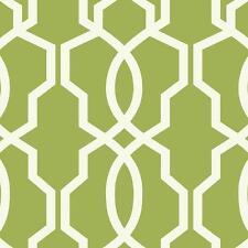 Wallpaper Designer Hourglass Geometric Lattice Trellis White on Lime Green