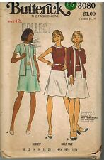 3080 Vintage Butterick Sewing Pattern Misses Dress Jacket 1970s Career 12 OOP
