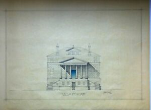 Villa Foscari by Palladio pencil drawing on yellow trace paper signed by author