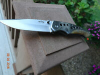 """4 1/2"""" CLOSED POCKET KNIFE PURE SILENCE 440 STAINLESS BLADE & FRAME RAMS HORN"""