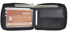 Genuine Leather Mens Zipper Zip-Around Organizer Bifold Coin Pocket Wallet Black