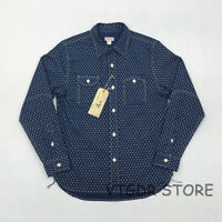 Bob Dong Wabash Indigo Work Shirt Vintage Button-Down Long Sleeve Casual Shirts