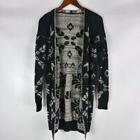 Rubbish Open Front Cardigan Sweater Women Size M Black Gray Knit