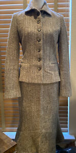 RALPH LAUREN Black Label Taupe Tweed Boucle Skirt Suit Size 8.            P12242