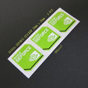 3x NVIDIA GEFORCE Sticker 20mm x 20mm Green