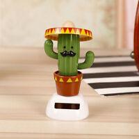 Cute Solar Powered Bobble Head Dancing Toy Car Dashboard Ornament Cactus
