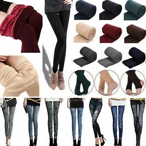 Womens Thermal Thick Warm Fleece lined Winter Slim Skinny Stretch Leggings Pants