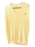 Masters Collection Womens Small Golf Vest Cable Knit Lemon Yellow Knit V Neck