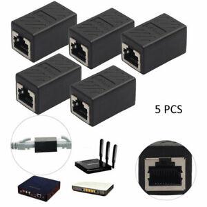 5x  RJ45 Ethernet Network LAN Cat5e Cable Joiner Adapter Coupler Extender Lot