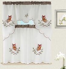 Owl Kitchen Curtain with Swag and Tier Set 36 in Checker design