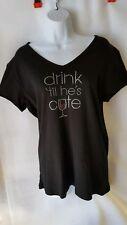 57e3e0bcf Women's Wine Bling Rhinestone T-shirts Black ...