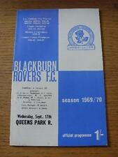 17/09/1969 Blackburn Rovers v Queens Park Rangers  . Item In very good condition