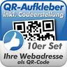QR Code Aufkleber, Ihre Webadresse als QR-Code, 10 Stück, 10x10 cm, wetterfest