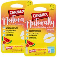 2x Carmex NATURALLY Watermelon Lip Balm Natural Hydrating Moisturize Stick 4.25g