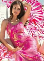 New Lily Pulitzer Franconia Halter Jewel Silk Maxi dress Fuchsia Pink Gold 4 6 8