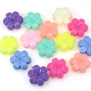 100 Mixed Pastel Color Acrylic Flower Beads Charms 12mm Kids Crafts