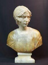 1820 superbe statue sculpture marbre 18k48c émotions d'une jeune fille au fichu