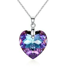 Crystals from Swarovski Purple Heart Pendant Necklace 18 ct White Gold Plated