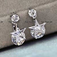 Star Crystal Rhinestone Stud Dangle Silver Earrings Xmas Gifts for Her Women Q1