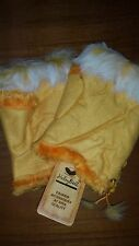 Winter Fingerless Leather Gloves Hand Wrist W/Rabbit Fur- Yellow NWT Free Ship