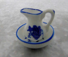 NEW 2PC Miniature PORCELAIN Doll House Pitcher & Bowl Delft Color Blue & White