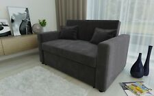 RAVENA 2 Seat Sofa Bed Charcoal Fabric Click Clack Pull out Living Room Sofabed