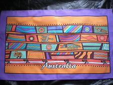 Australian Aboriginal terracotta aqua tea towel NEW great gift idea 100% cotton