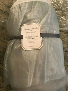 Pottery Barn Kids Icy Tulle Bed Skirt Queen Blue NEW