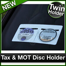 DOUBLE TWIN Car Van MOT / TAX DISC HOLDER White Plastic Road Tax Protector NEW
