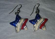 Red White Blue Rhinestone American Flag Patriotic Star Dangle Earrings