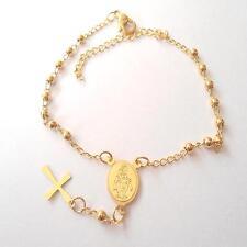 Pulsera HOMBRE MUJER rosario con la cruz de acero oro - 19 - 21 CM - 220 M