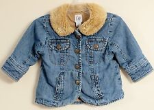 babyGAP Size 12-18 Months Blue Fully-Lined Faux Fur Collared 4 Pockets Jacket