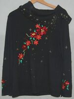 Christmas Womens Sweater Black Gold Red Poinsettia Beaded Sequins M CB Holiday