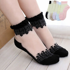 Fashion Ladies Crystal Lace Ruffle Frilly Ankle Short Socks Girl Princess Gift