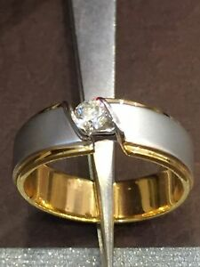 Classy 0.25 Cts Round Brilliant Cut Diamond Men's Wedding Ring In Solid 14K Gold