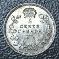 OLD CANADIAN COIN 1915 - 5 CENTS - .925 SILVER - George V - Some Rainbow Tone