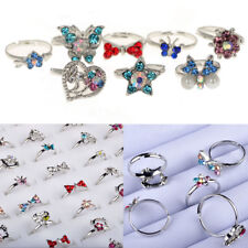 Wholesale Lots 10pcs Mix Crystal Of Rhinestone Silver Children Adjustable Rings