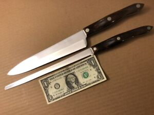 "VGC 2 Cutco Knives 15-3/8"" #1724 Serrated Slicer, 15"" #1725 Chef Knife Classic"
