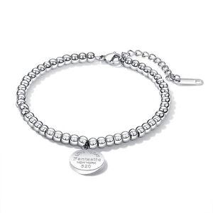 Armband Damen Edelstahl Rund Kugel Armkette Armreif Silber Bracelet Schmuck